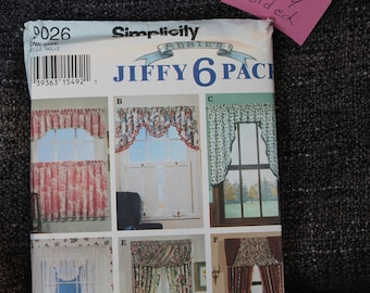 Simplicity 7204-9026-9106 Jiffy 6 pack- window covering- Window Swag- YOU CHOOSE