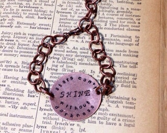 Stars Can't Shine Without Darkness Hand Stamped Copper Bracelet