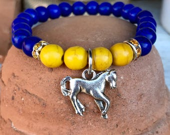 UCO themed yoga bracelet - blue and gold dyed turquoise beads with rhinestone spacers and broncho charm #GOBronchos