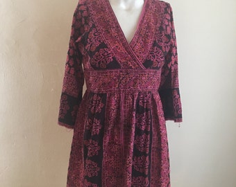 70s Rare Karavan Indian Color Block Tunic Dress • Altered to Shorter Length •