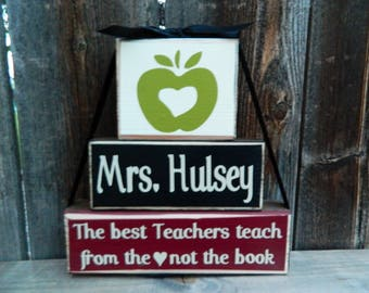 Teacher appreciation blocks--The best teachers teach from the (heart) not the book--Teacher Gift, Teacher wood blocks