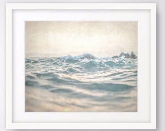 Abstract Ocean Wall Art Print, Modern Beach Decor, Ocean Print, Bathroom Art, Waves Poster, Nautical Decor, Digital Download