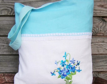 White and Blue Linen  Embroidered tote bag Tote bag Canvas tote bag Shopping bag Beach bag, Handmade bag, Embroidered purse, Bags and purses