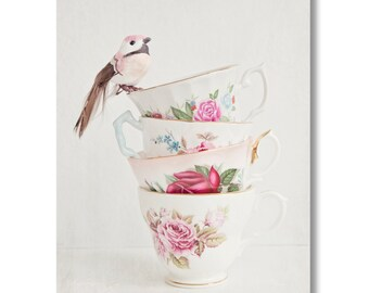Vintage tea cup and pink bird Canvas Gallery Wrap, shabby chic, granny chic, bird, tea cup photo, kitchen art, still life photo canvas