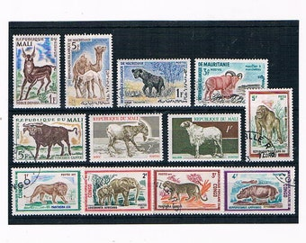 Vintage Wild Animal Postage Stamps - wildlife postal stamps - camel, gorilla, lion, elephant | thematic stamps French colonies for crafts