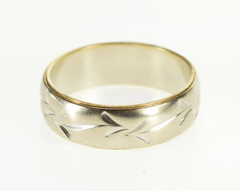 14k Two Tone Floral Arrow Patterned Wedding Band Ring Gold
