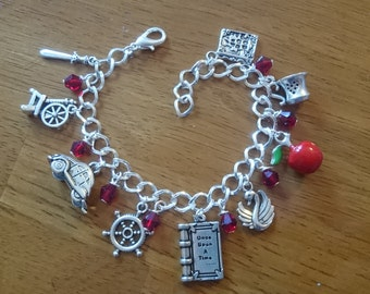 Once upon a time/hook <3 swan/evil queen deluxe adjustable silver charm bracelet available in adult and child sizes