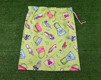 Shoes & handbags drawstring bag, large green laundry bag, storage bag, library bag