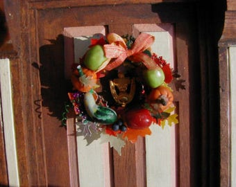 Autumn wreath 1/12 scale dollhouse miniature