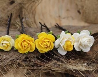 Set of 5   Yellow White  Roses Mulberry Paper Flower Hair Pins , Bridal Hair Pins, Hair Bobby Pins,U pins,Prom,Bridal Hair Pins (FL375)