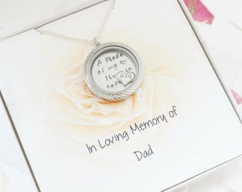 Sympathy Gift for Loss of Father, Loss of Dad Bereavement Gift, Father Memorial Necklace, In Memory of Dad Memory Locket, Dad Remembrance