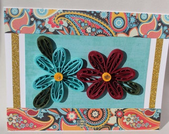 Quilled greeting card, turquoise and maroon, with paisley