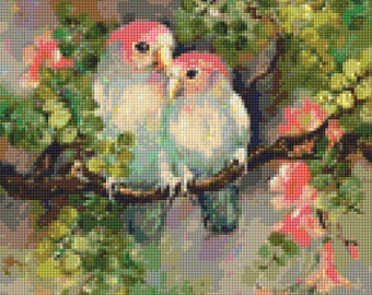 Vintage Lovebirds Cross Stitch pattern  PDF - Instant Download!