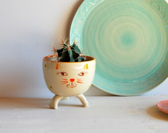 Cat planter Ceramic plant pot Cat plant holder Cactus pot Succulent pot Cat pot Cat trinket dish Cat bowl Jewelry holder Cat decoration