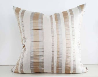 Metallic Holiday Pillows, Silver Gold Pillows, Elegant Pillow Cover, Cream Gold Pillows  Striped Pillow, Textured, 12x18, 18, 20, 22, 24, 26