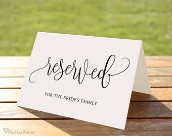 Reserved Sign, Wedding Reserved Table Sign, Reserved Card, Printable Reserved Sign, Calligraphy, #A030, INSTANT DOWNLOAD, Editable PDF
