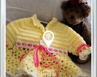 Girls crochet coat lace spring yellow white 4T