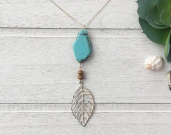 Boho,Turquoise,Turquoise Necklace with Leaf,Turquoise Jewelry,Gold,Long Necklace,Layering  Necklace,Nature Jewelry,Shabby Chic,Rustic
