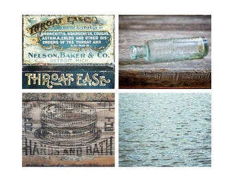 Bathroom Wall Decor Set, Aqua Wall Art, Rustic Country Farmhouse Decor, Set of 4 Photography Prints, Canvas Art or Wood Trim Prints