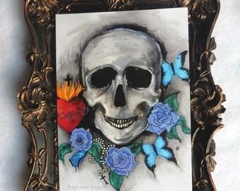 Memento Mori Postcard, Vanity, Vanitas, Skull, Greeting, Card, Art, Gothic, Curiosities, Oddities, Anatomy, Taxidermy, Skeleton, Buterfly