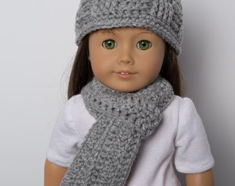 """18"""" Doll Crocheted SCARF & BEANIE. Hand crocheted.  Doll hat.  Winter. Accessories.  Crocheted scarf. Doll set. Fits American Girl Doll."""