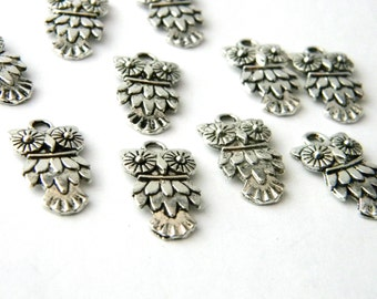 Feathered Owl Charms Set of 10 Silver Color 20x11mm