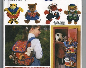 """Accessories and Clothes for 9"""" Beanbag Animals / Original Simplicity Crafts Uncut Sewing Pattern 7929"""