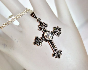 Vintage Marcasite Cross, Marcasite Sterling Silver Cross, Cubic Zirconia Silver Cross , CZ Pendant