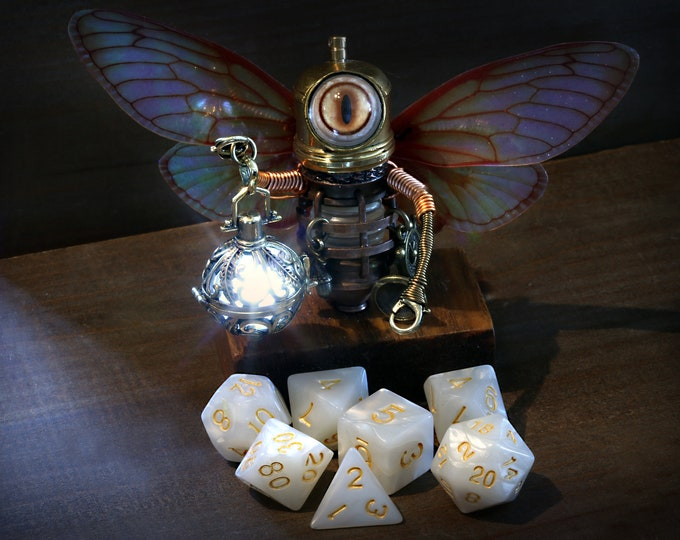 Little Steampunk Fairy Minion Robot Sculpture with glowing lantern and white dnd dice