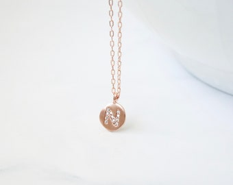 Letter Charm Necklace, Rose Gold Initial Necklace, Letter Necklace, Graduation Gift, New Mom, Bridesmaid Gift, Teen Gift, Birthday Gift