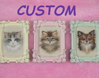 CUSTOM 2D Pet Prtrait: Custom Framed 2D Needle Felted Cat or Dog Portrait