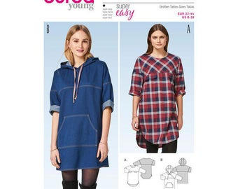 Burda Young Sewing Pattern 6475,  Misses Dress Pattern, Hooded Tunic Pattern, Denim Dress, New Uncut
