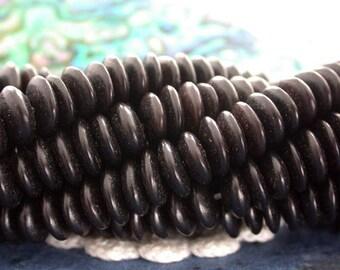 """Black Horn Beads, 8"""" Srtand Black Horn Rondelles, Black Horn Saucers, Natural Beads NAT-009"""
