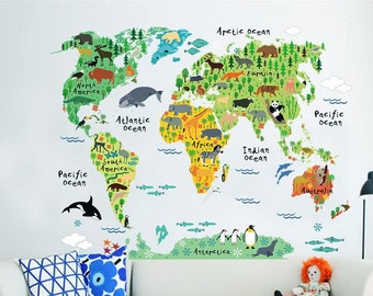 Animal world map etsy cartoon animals world map wall stickers for kids room decorations safari mural art zoo children home decals nursery posters gumiabroncs Gallery
