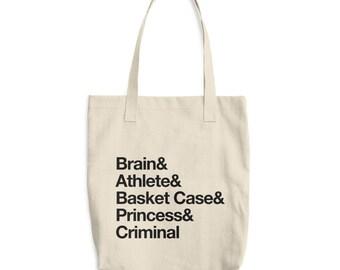 "Breakfast Club Ampersand Cotton Tote Bag 80s Movies, Pop Culture, John Hughes, Helvetica ""&"" Brain, Athlete, Basket Case, Princess, Criminal"