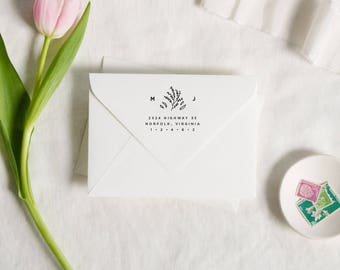 Modern Address Stamp, Floral Monogram Stamp, Return Address Stamp, Custom Rubber Stamp, Wreath Address, Wedding Stamp, Self Inking Stamp