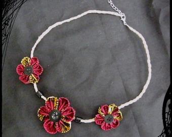 """Kanzashi Flower necklace """"burning"""" Autumn"""""""