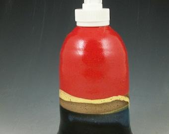 Wheel Thrown Pottery Lotion Bottle Soap Dispenser Red/Black 038