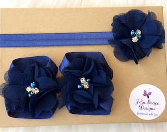 Navy Barefoot Sandals and Headband, Baby Barefoot Sandals, Navy Blue Headband, Newborn Sandals, Baby Girl Shoes, Newborn Shoes, Baby Shoes