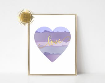GOLD FOIL Nursery Art / Gold Foil Print / Girl Heart Nursery Art / Watercolor Love Print / Love Nursery Sign / Gold Nursery Wall Decor