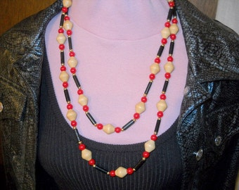 Vintage 1970's Bead Necklace, 54 inches Long