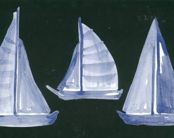 Lot 3 paper ornaments painted Klumpies sailboats