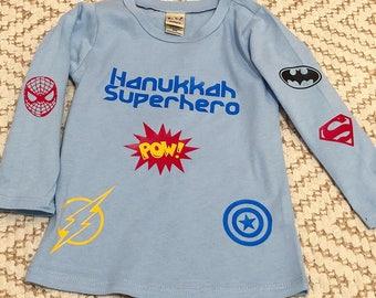 Baby boy hanukkah superhero shirt
