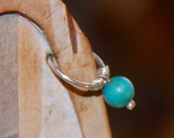Small Cartilage Earrings, Belly Button Ring, Turquoise  Belly Button Jewelry, 18 gauge 16 gauge 14 gauge Belly Button Hoop