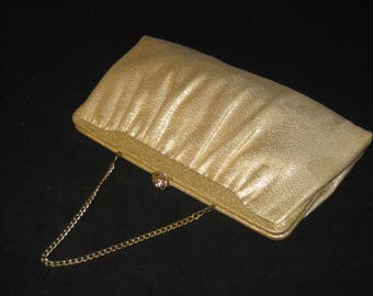 60s Gold Clutch, Gold Purse, Vegan Friendly, Gold Cocktail Purse, Gold Evening Bag,  1960s Gold Lame, Metallic Gold, Fabric Evening Purse