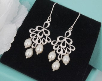May-Freshwater Pearl and Matte Silver Chandelier Earrings