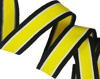 Striped Yellow Black White Stretch Ribbon Trim, Striped Knitted Ribbon