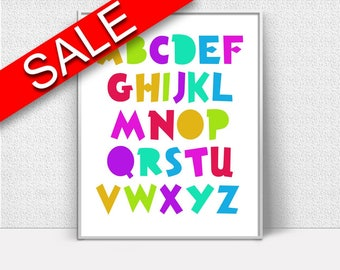 Abc Prints Wall Art Alphabet Digital Download Abc Nursery Art Alphabet Nursery Print Abc Instant Download Alphabet Frame And Canvas abc art
