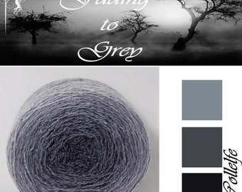 Fading to grey* Merino silk Gradient Yarn hand dyed - Lace weight