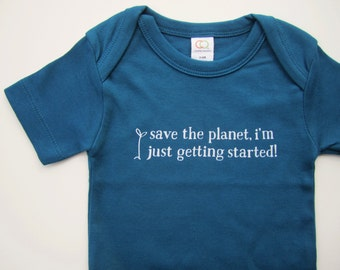 "Organic cotton baby bodysuit - eco-friendly - ""save the planet"" - sea blue - baby shower gift - new baby - hippie baby clothes"